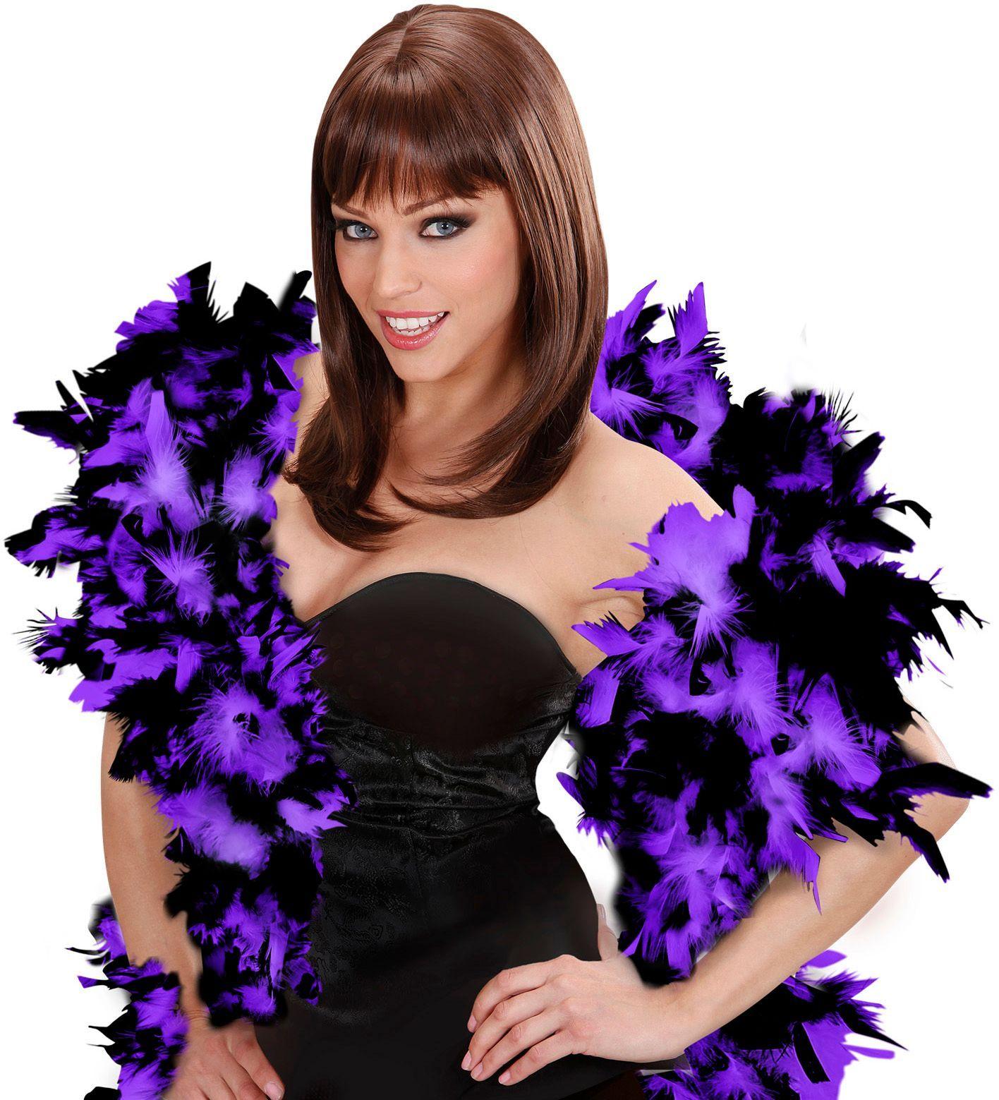 Luxe paarse-zwarte boa