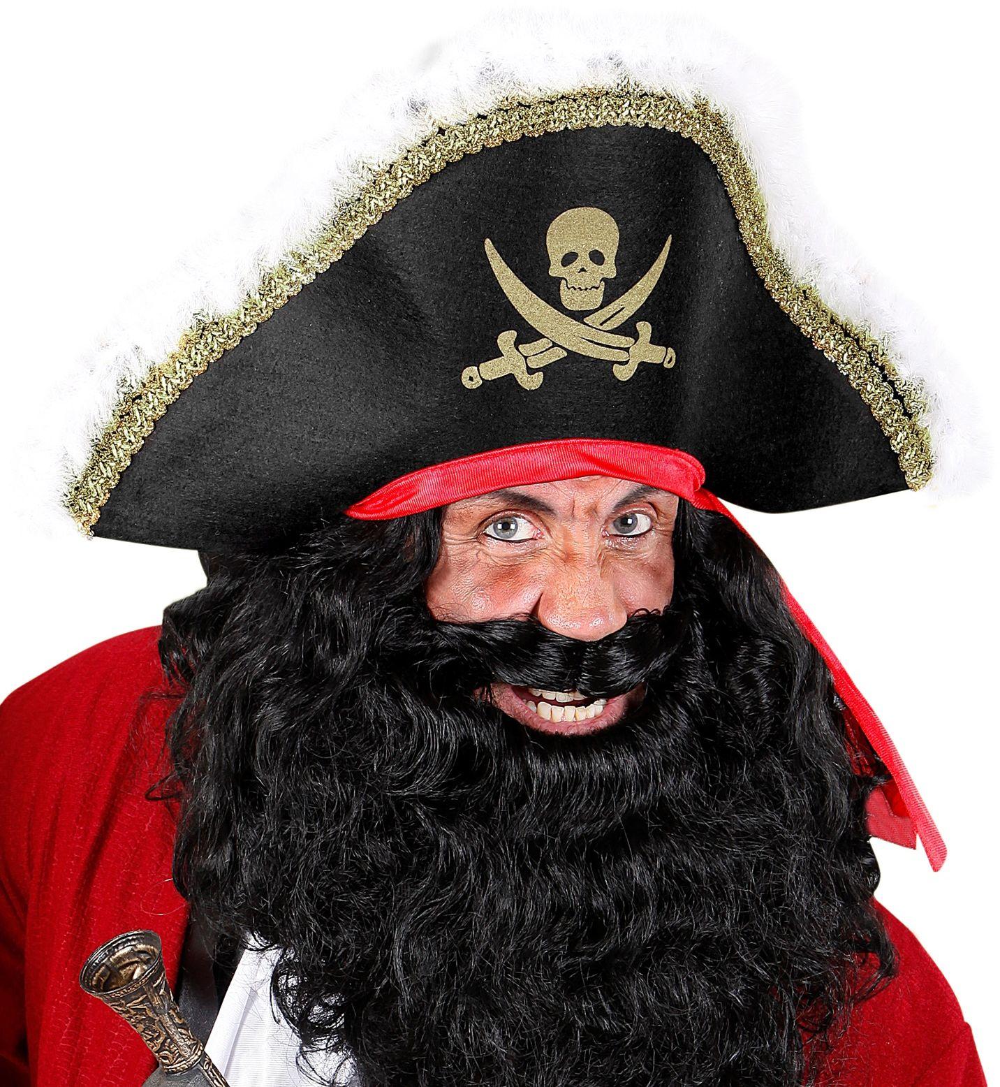 Luxe piraten hoed met rode hoofdband