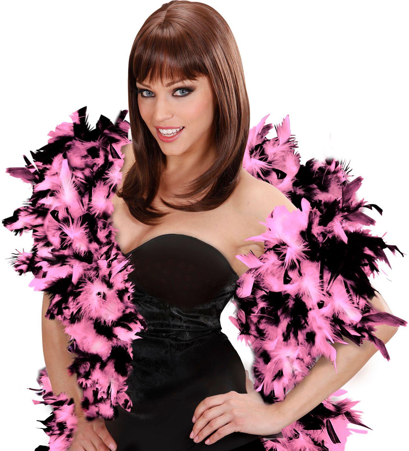 Luxe roze-zwarte boa