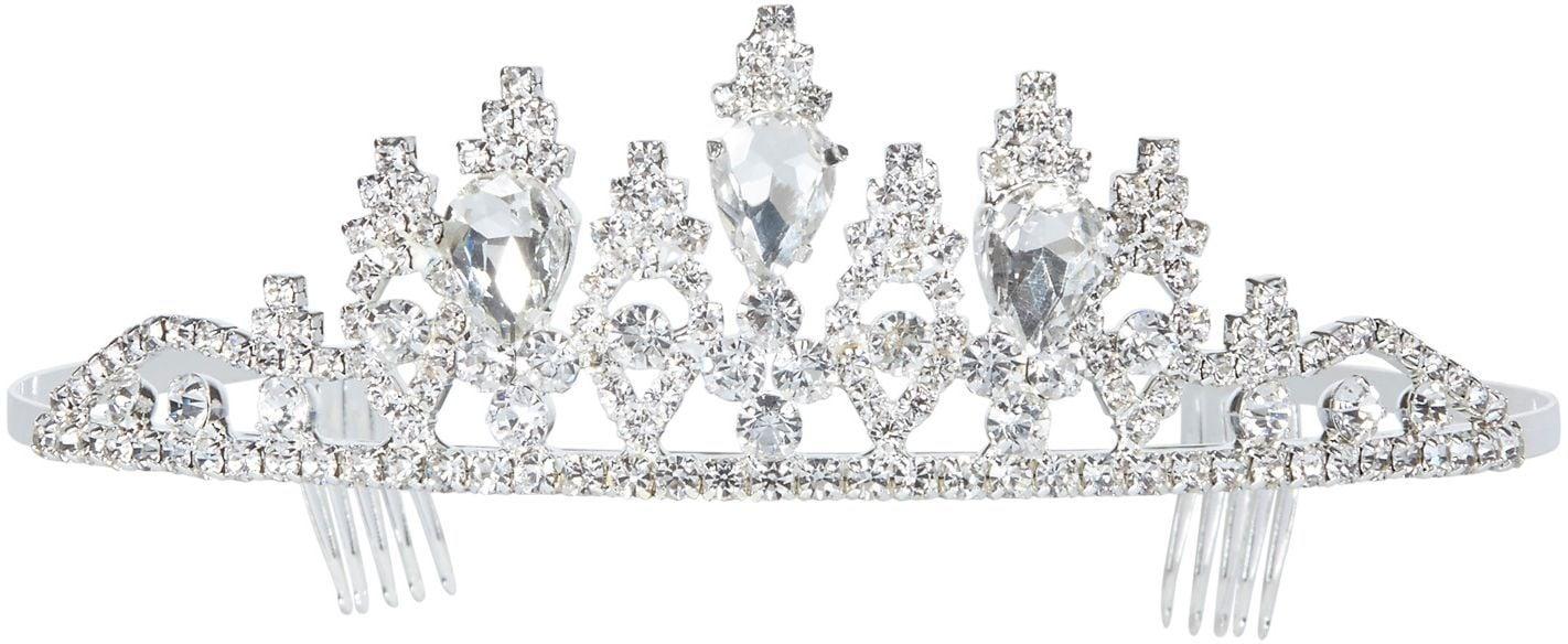 Luxe strass tiara zilver