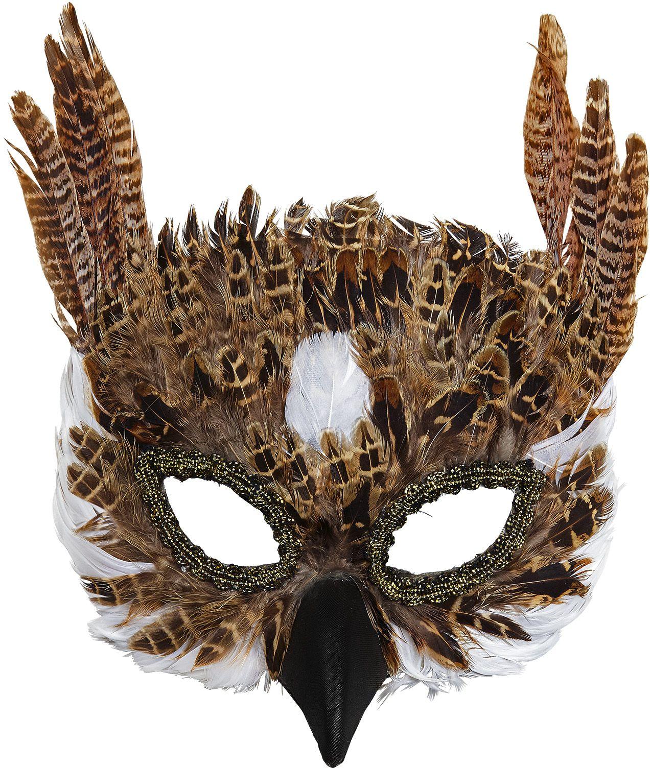 Masker uil met veren
