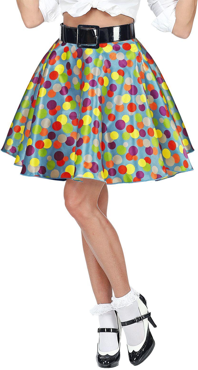 Meerkleurige jaren 50 rok One-size-volwassenen