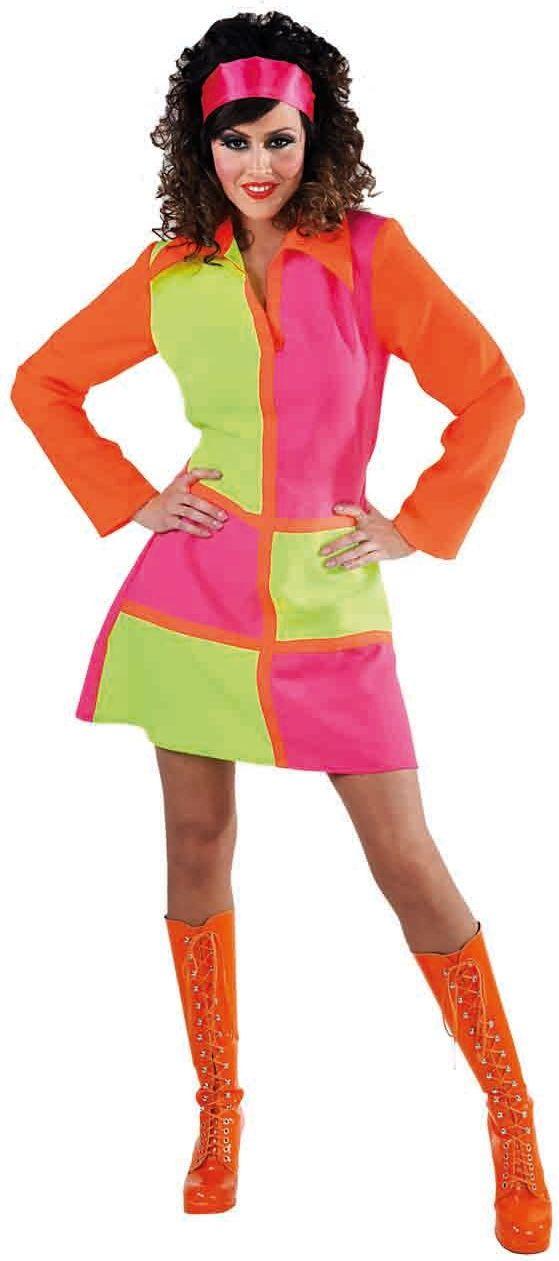 Meerkleurige jurk 60s vrouwen