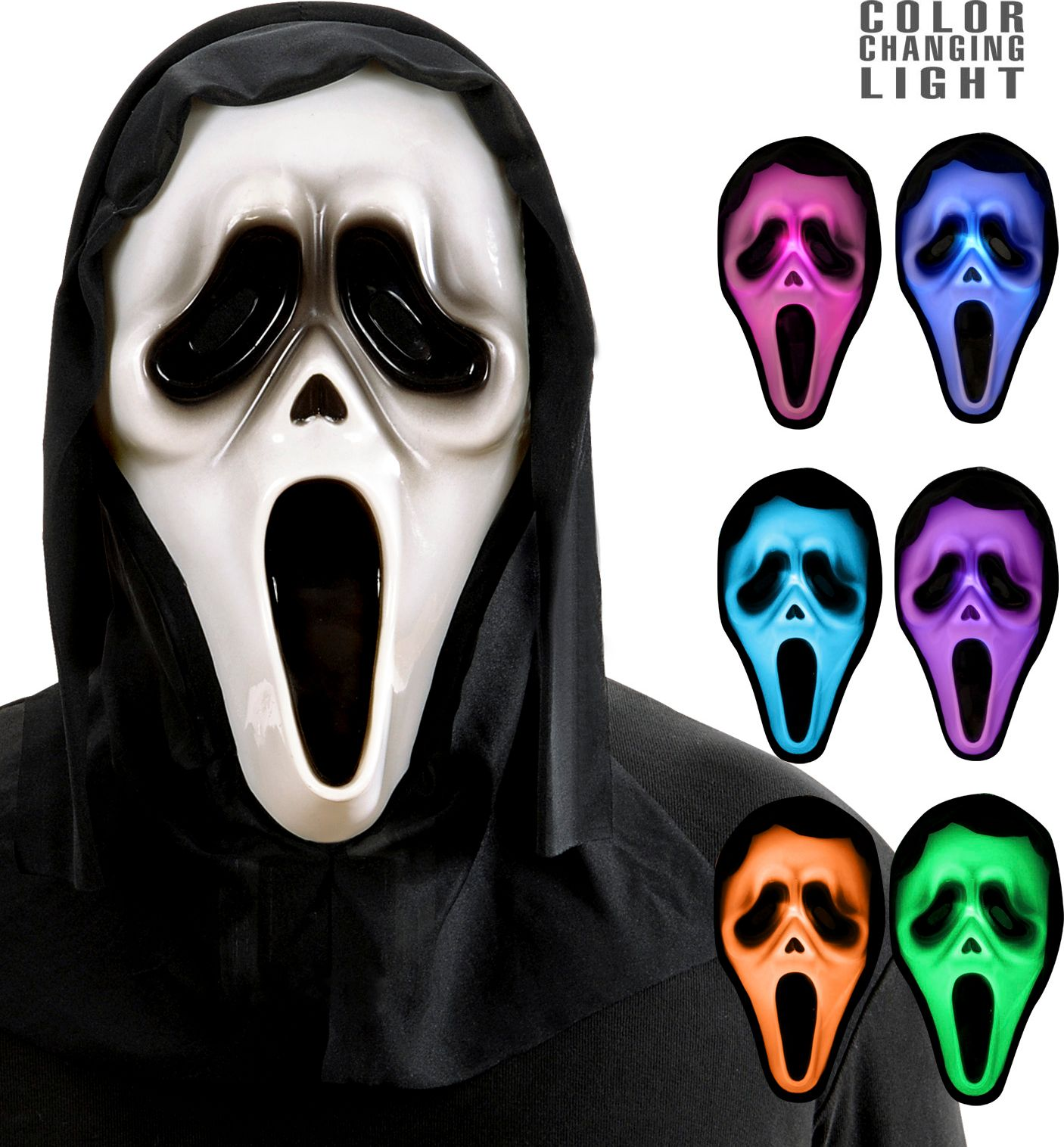 Meerkleurige lichtgevende spook maskers