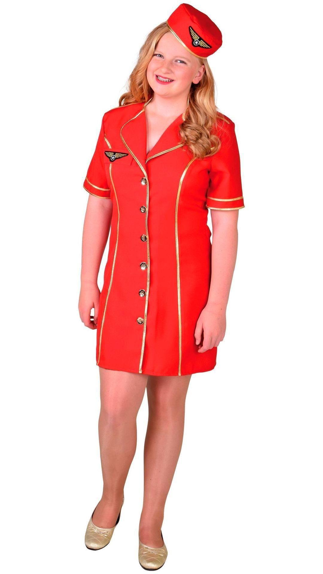 Meisje stewardessen outfit rood
