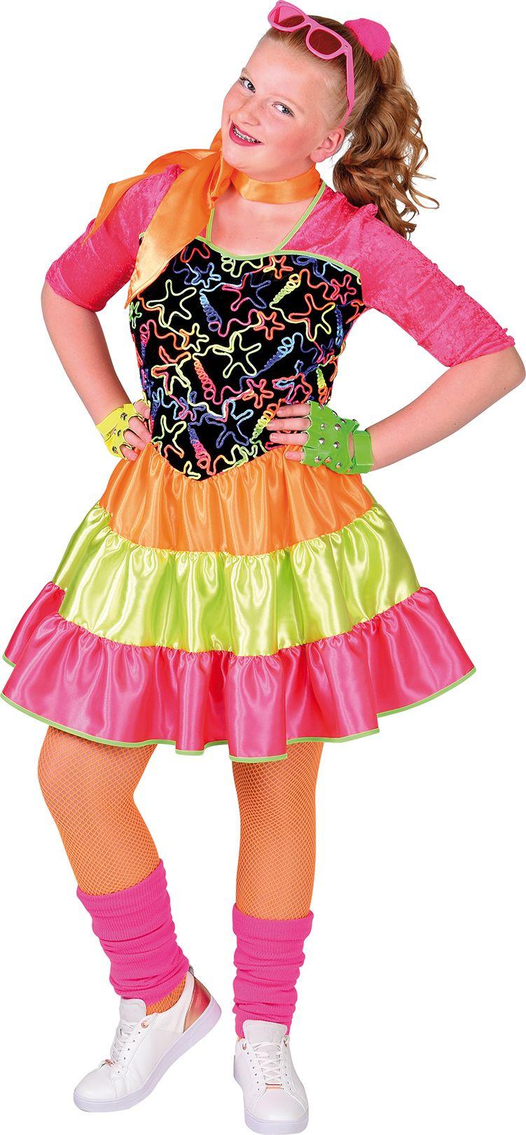 Meisjes disco jurk fluor