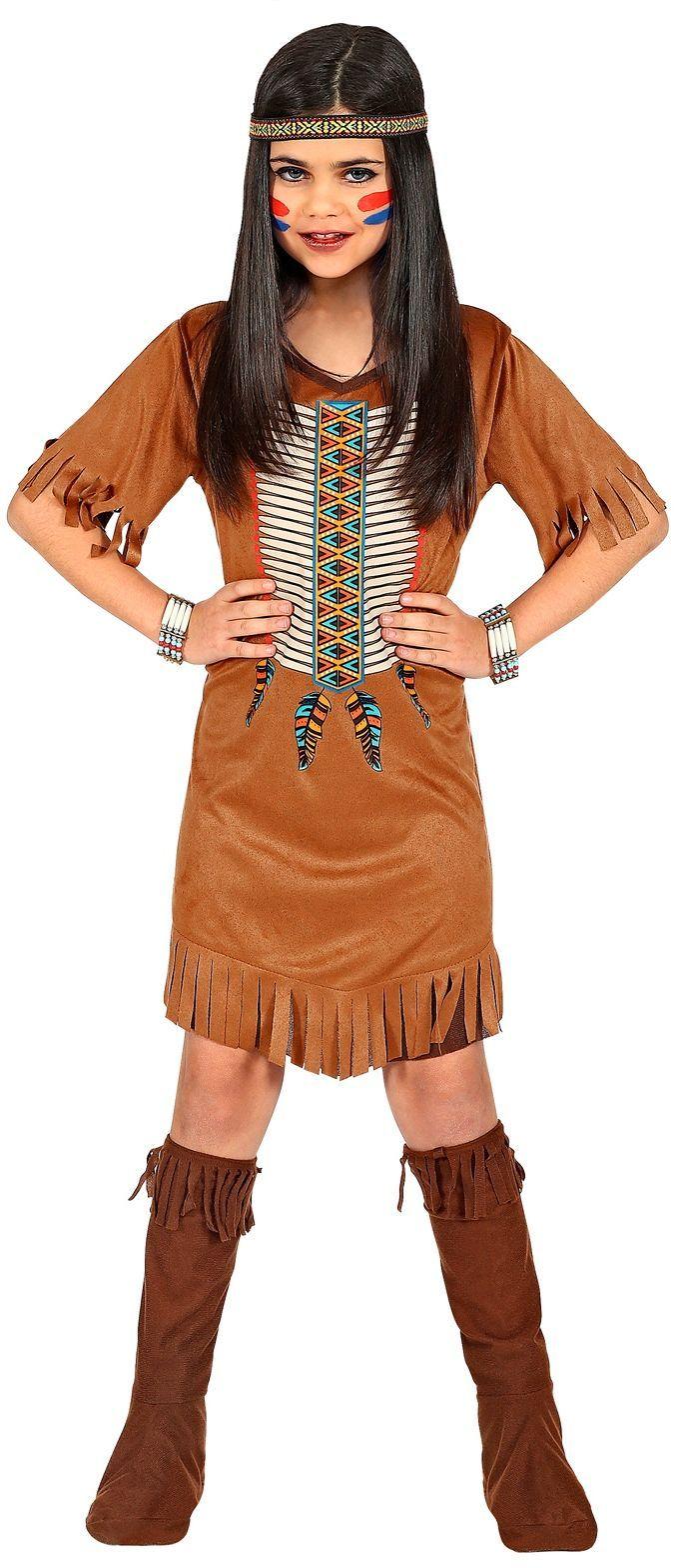 Meisjes indianen jurkje bruin