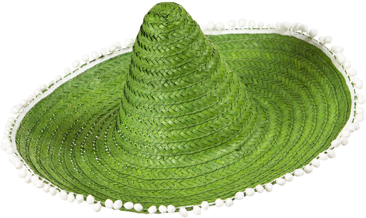 Mexicaanse sombrero groen met pompoms