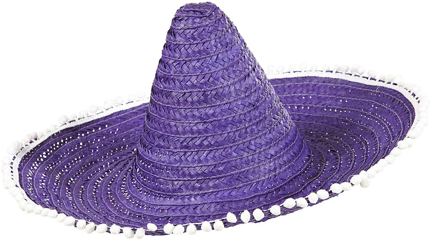 Mexicaanse sombrero paars met pompoms