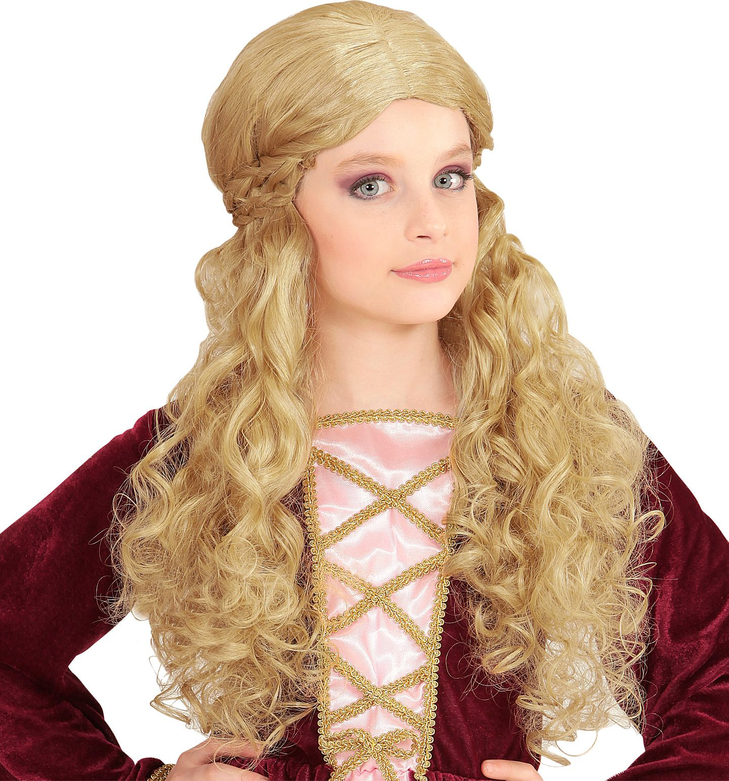 Middeleeuwse meisjes pruik blond