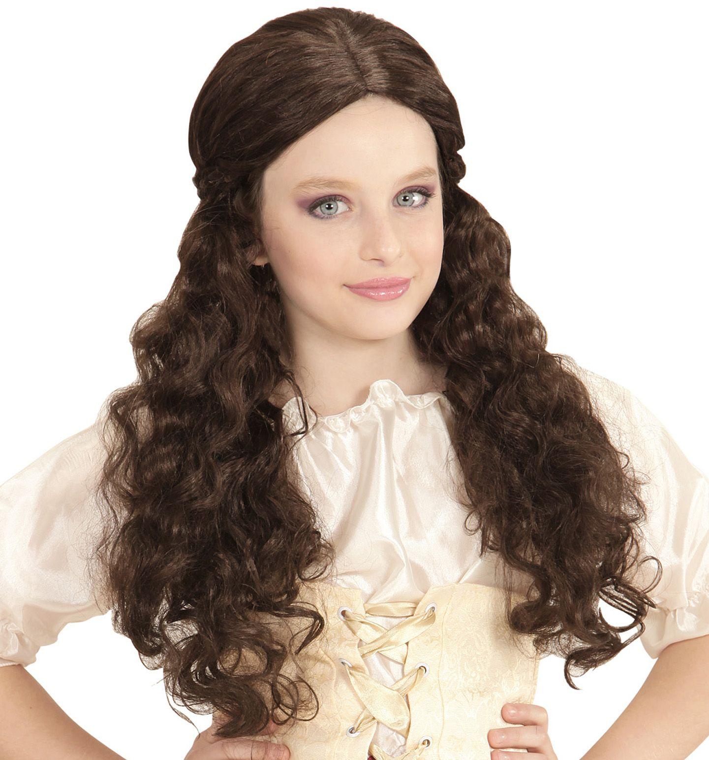 Middeleeuwse meisjes pruik bruin