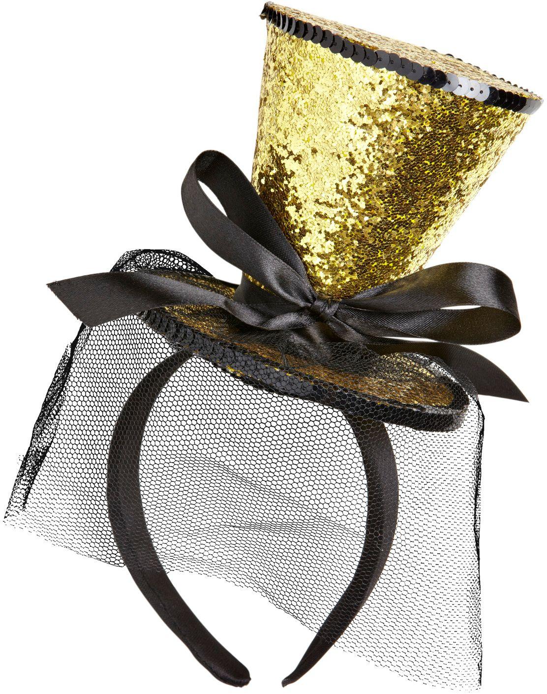 Mini gouden glitter hoge hoed