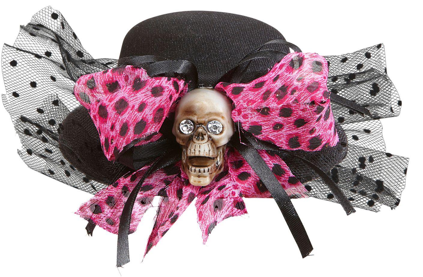 Mini hoge hoed met schedel en strikje
