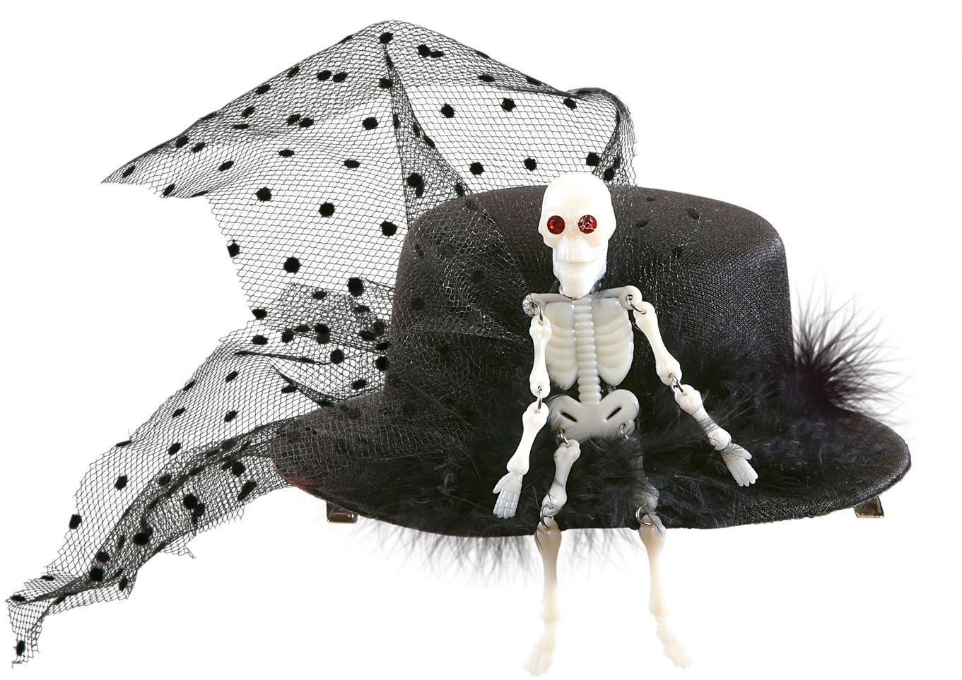 Mini hoge hoed met skelet
