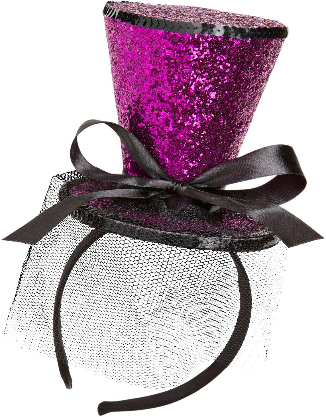 Mini paarse glitter hoge hoed