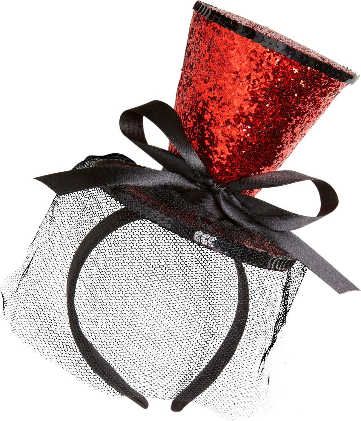 Mini rode glitter hoge hoed