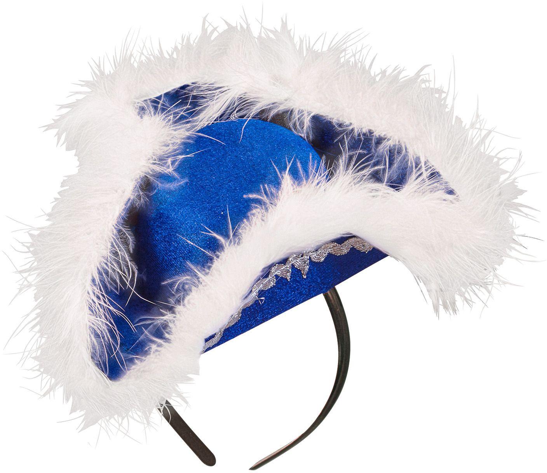 Mini tricorn hoed blauw met marabou