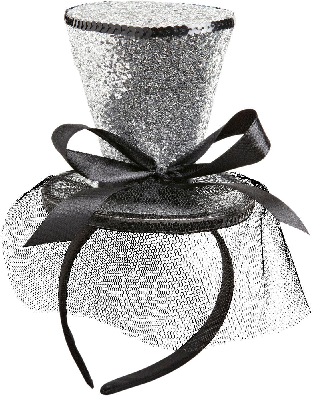 Mini zilveren glitter hoge hoed