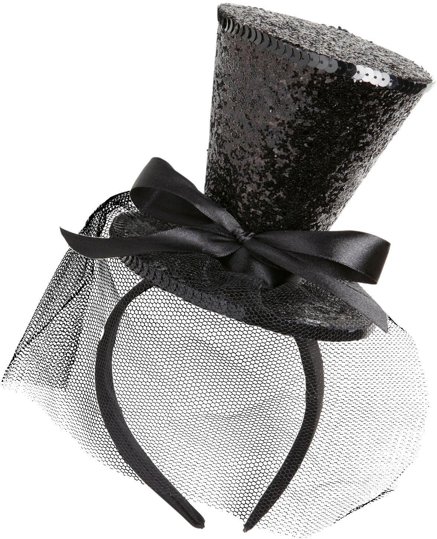 Mini zwarte glitter hoge hoed