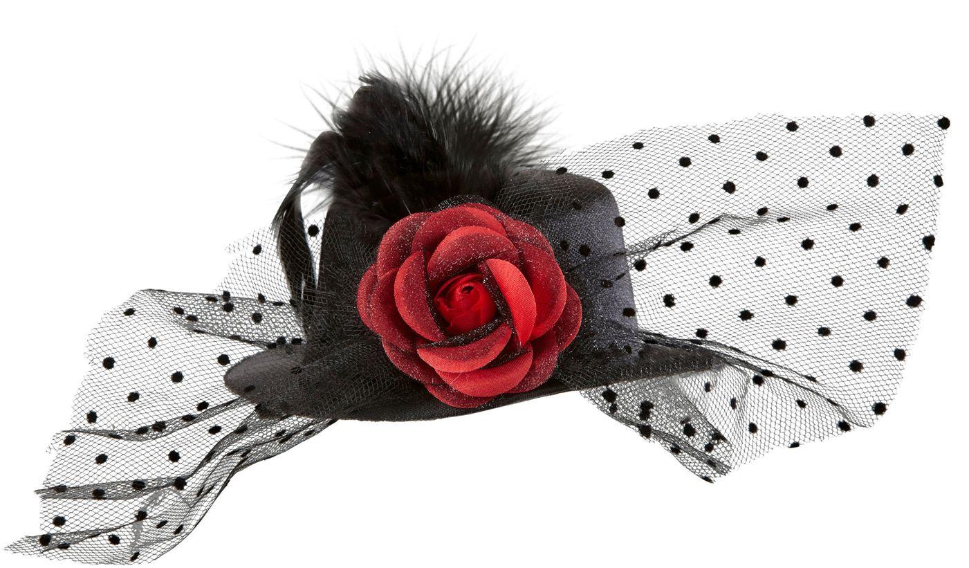 Mini zwarte hoge hoed met rode roos en veren
