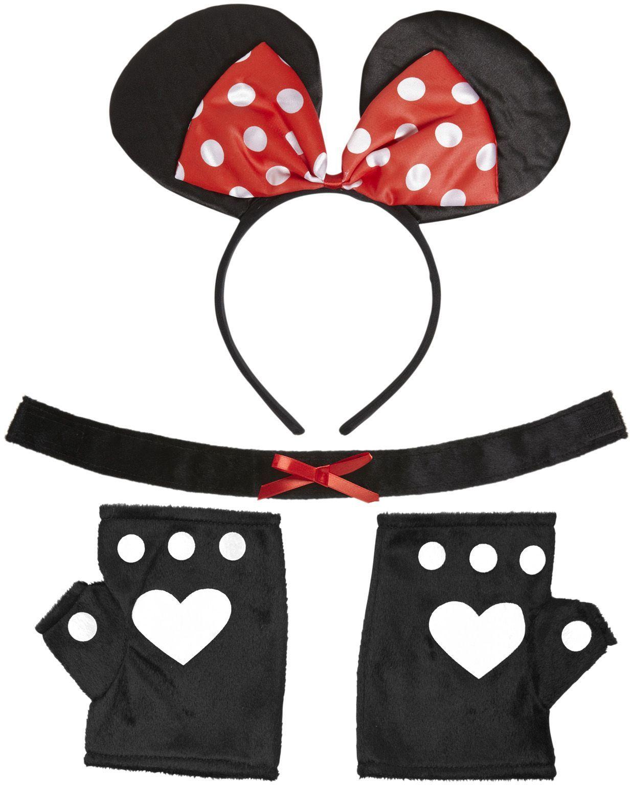 Minnie mouse oortjes, neus en handschoenen