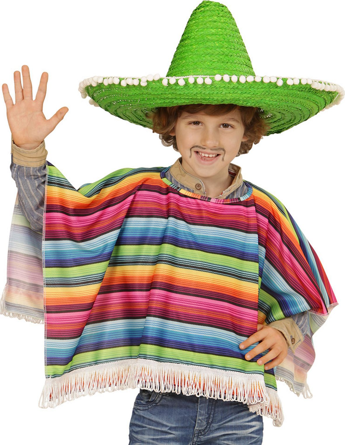 Multikleurige mexicaanse poncho kind