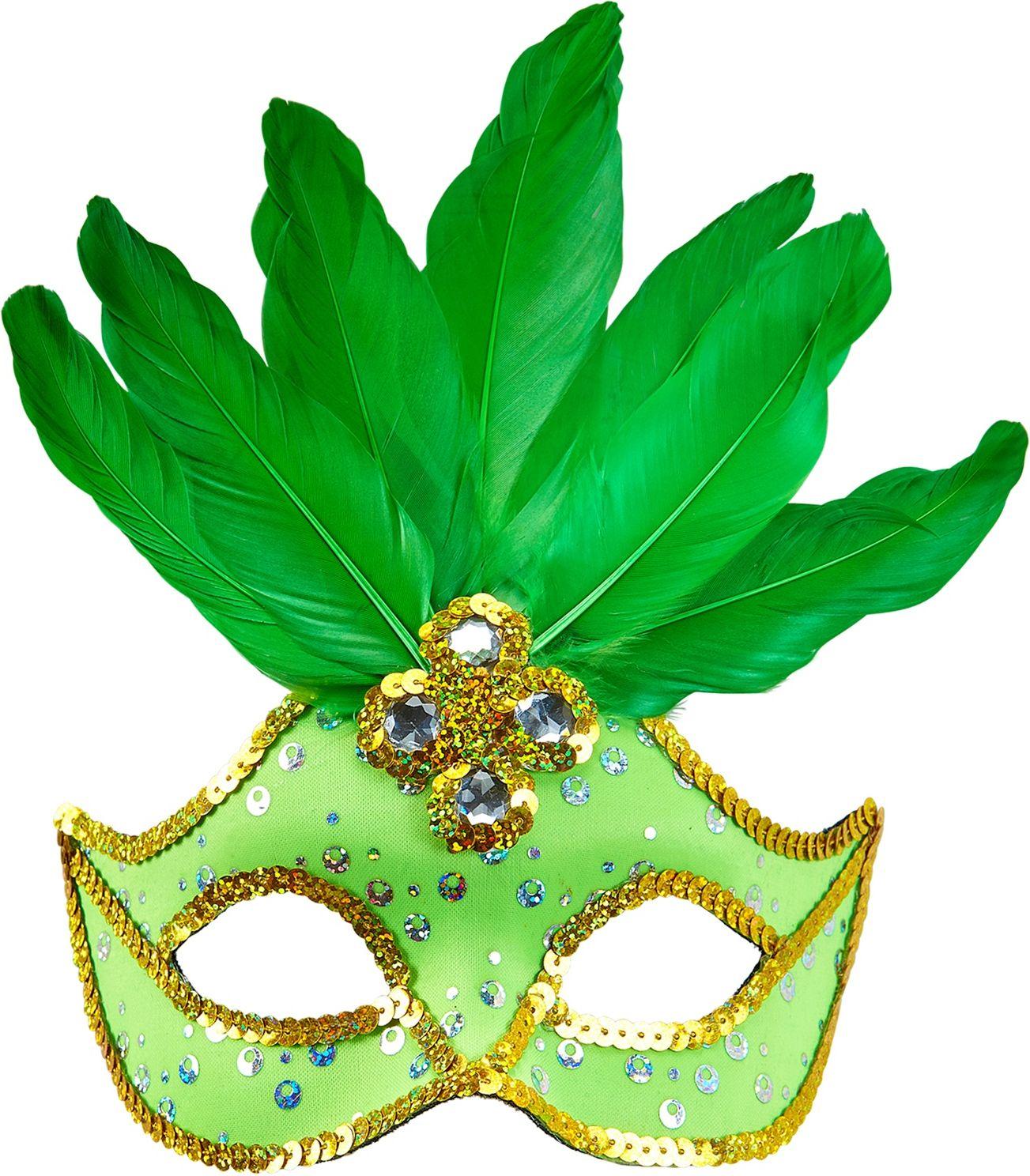 Neon groen braziliaans oogmasker met parels en veren