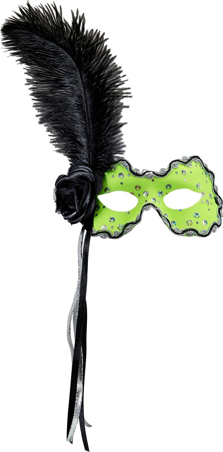 Neon groen braziliaans oogmasker met veer