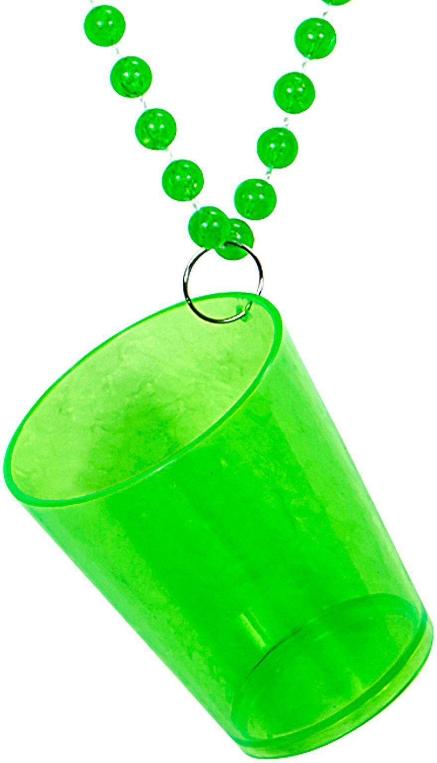 Neon groene ketting met shotglaasje