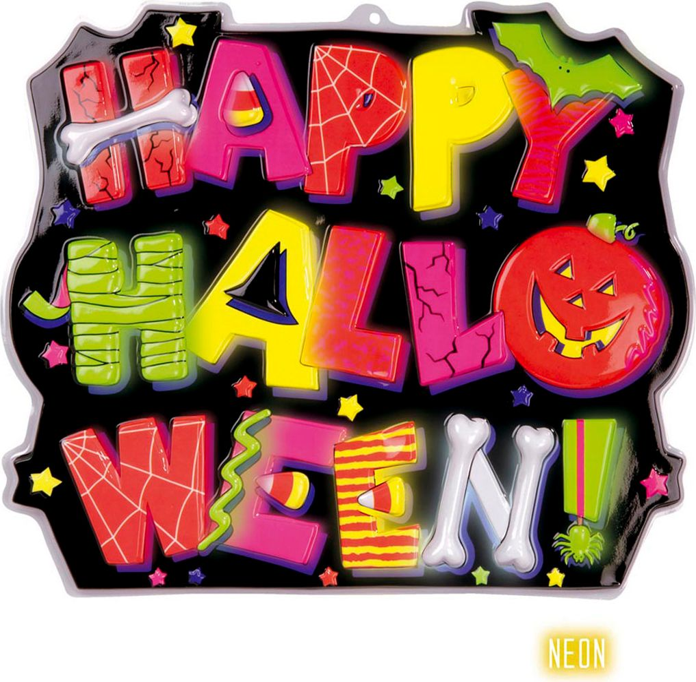Neon happy halloween bord