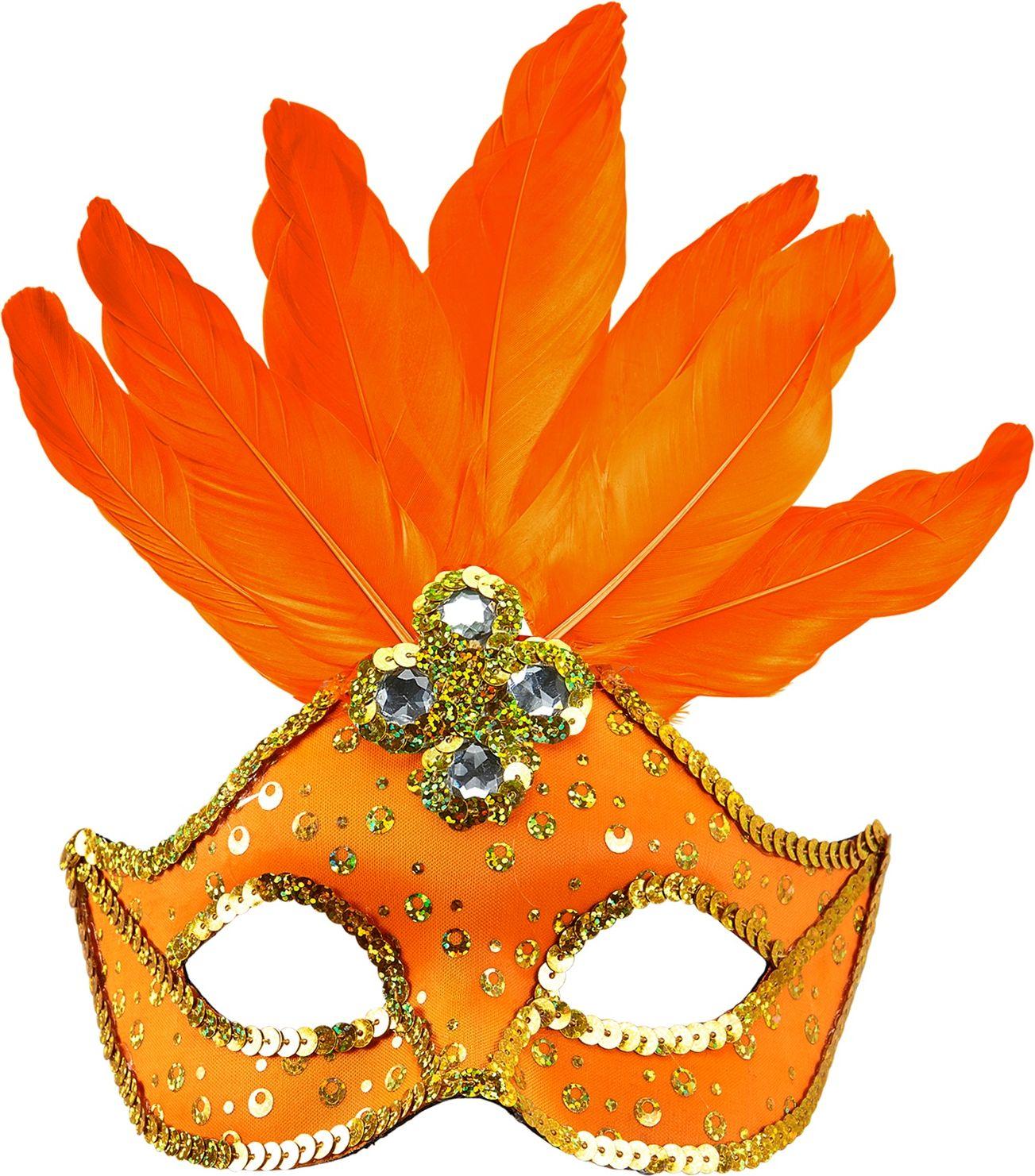 Neon oranje braziliaans oogmasker met parels en veren