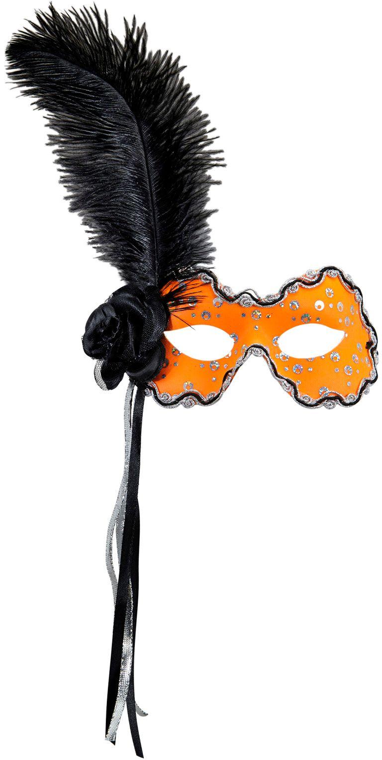 Neon oranje braziliaans oogmasker met veer