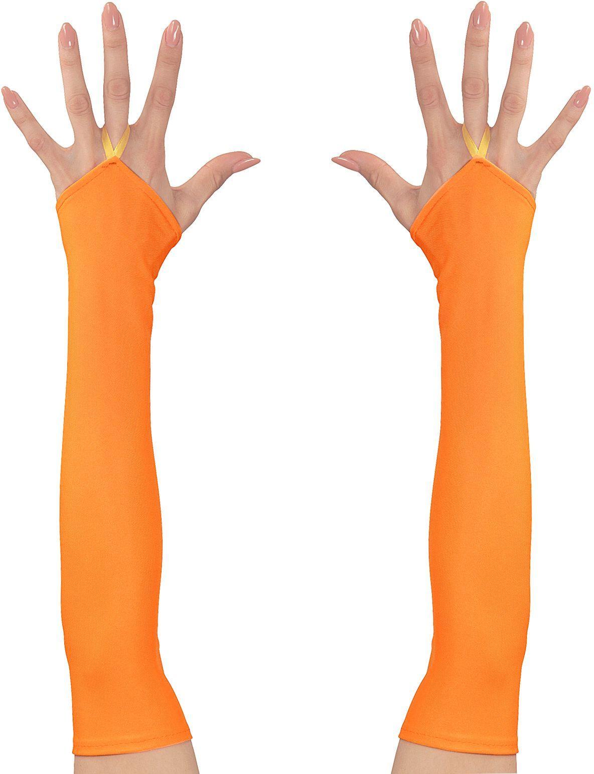Neon oranje toploze satijnen handschoenen
