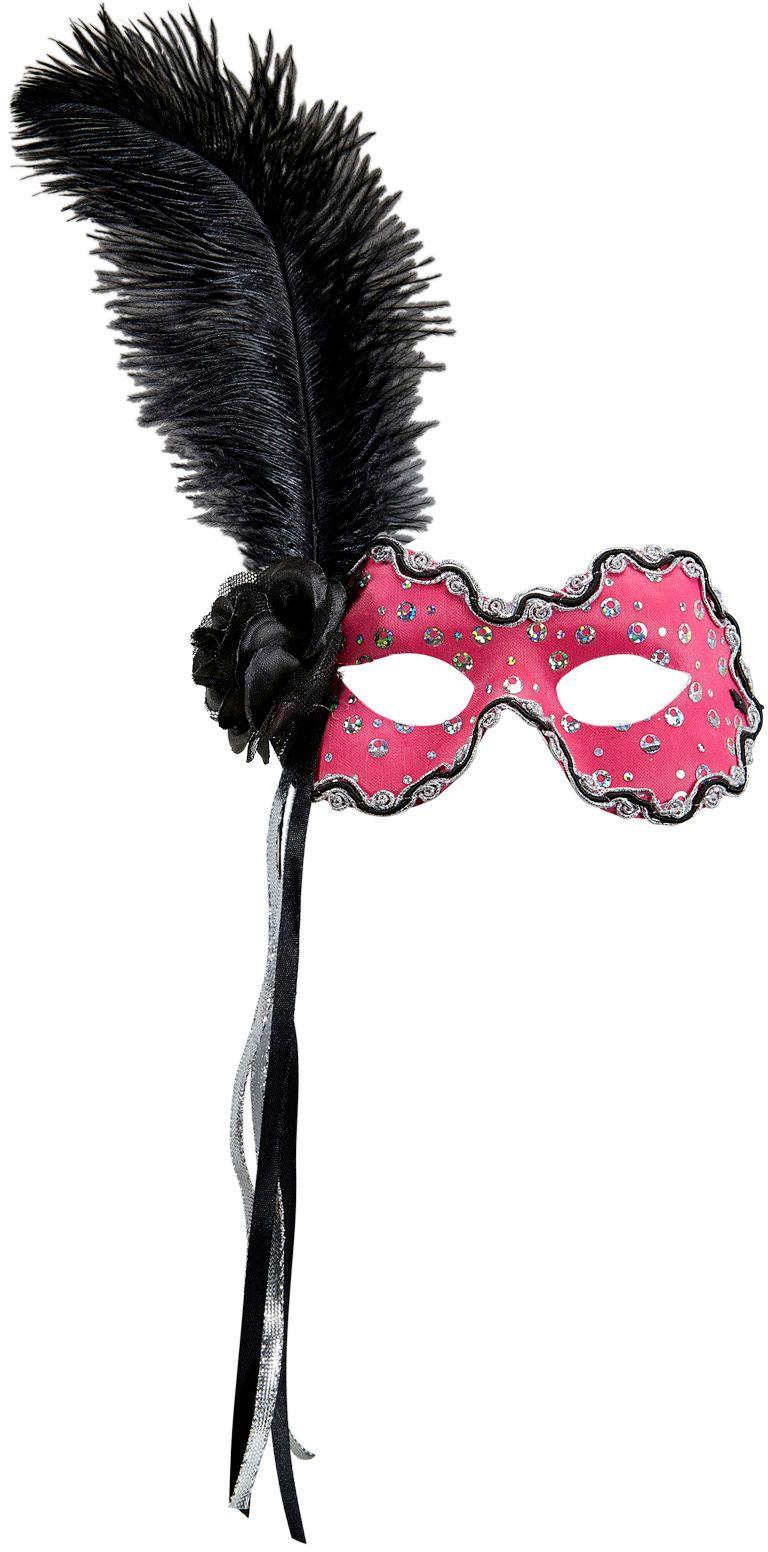 Neon roze braziliaans oogmasker met veer