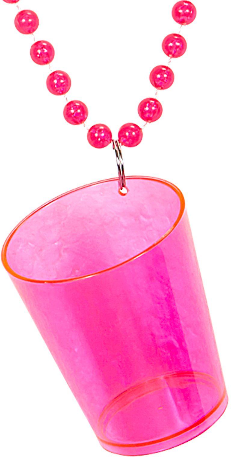 Neon roze ketting met shotglaasje