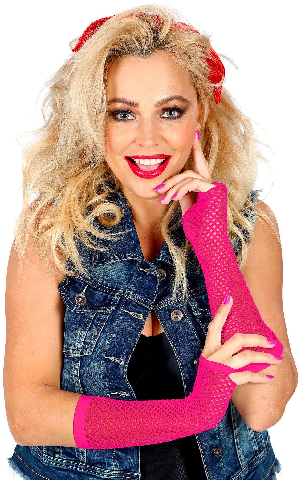 Neon roze lange toploze nethandschoenen