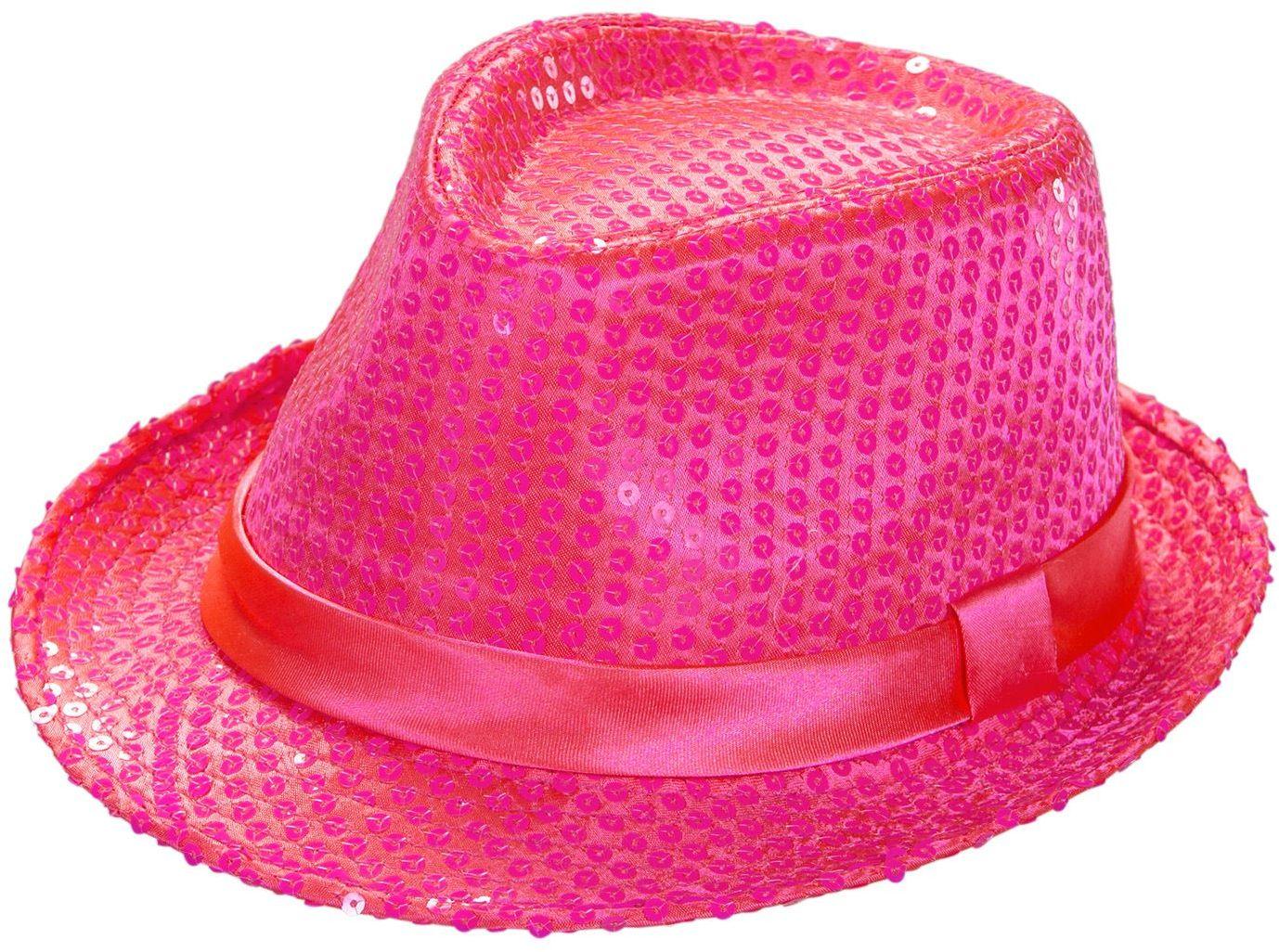 Neon roze pailletten hoed