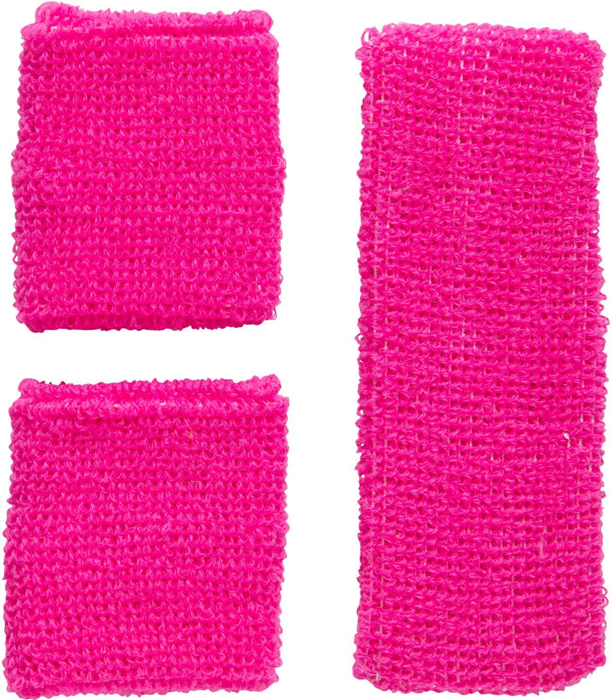 Neon roze zweetbandjes set