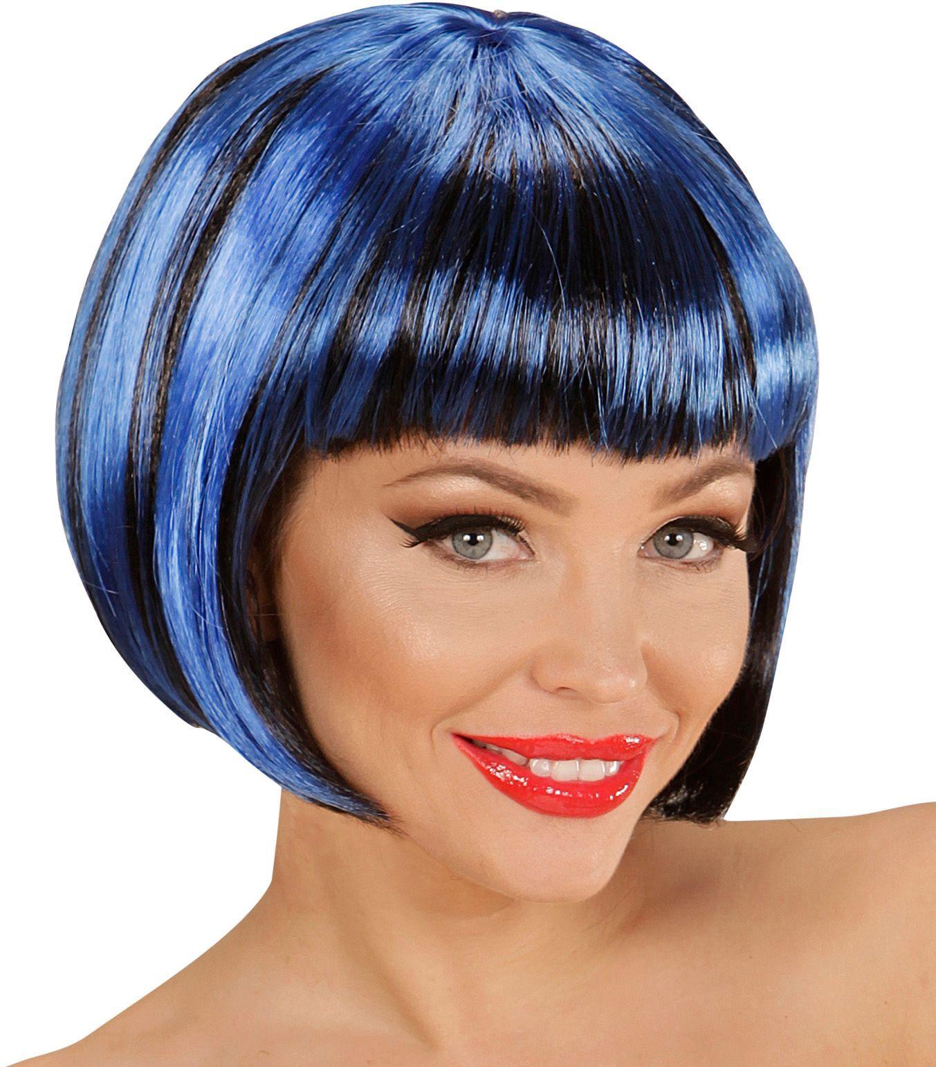 Nette disco pruik zwart-blauw