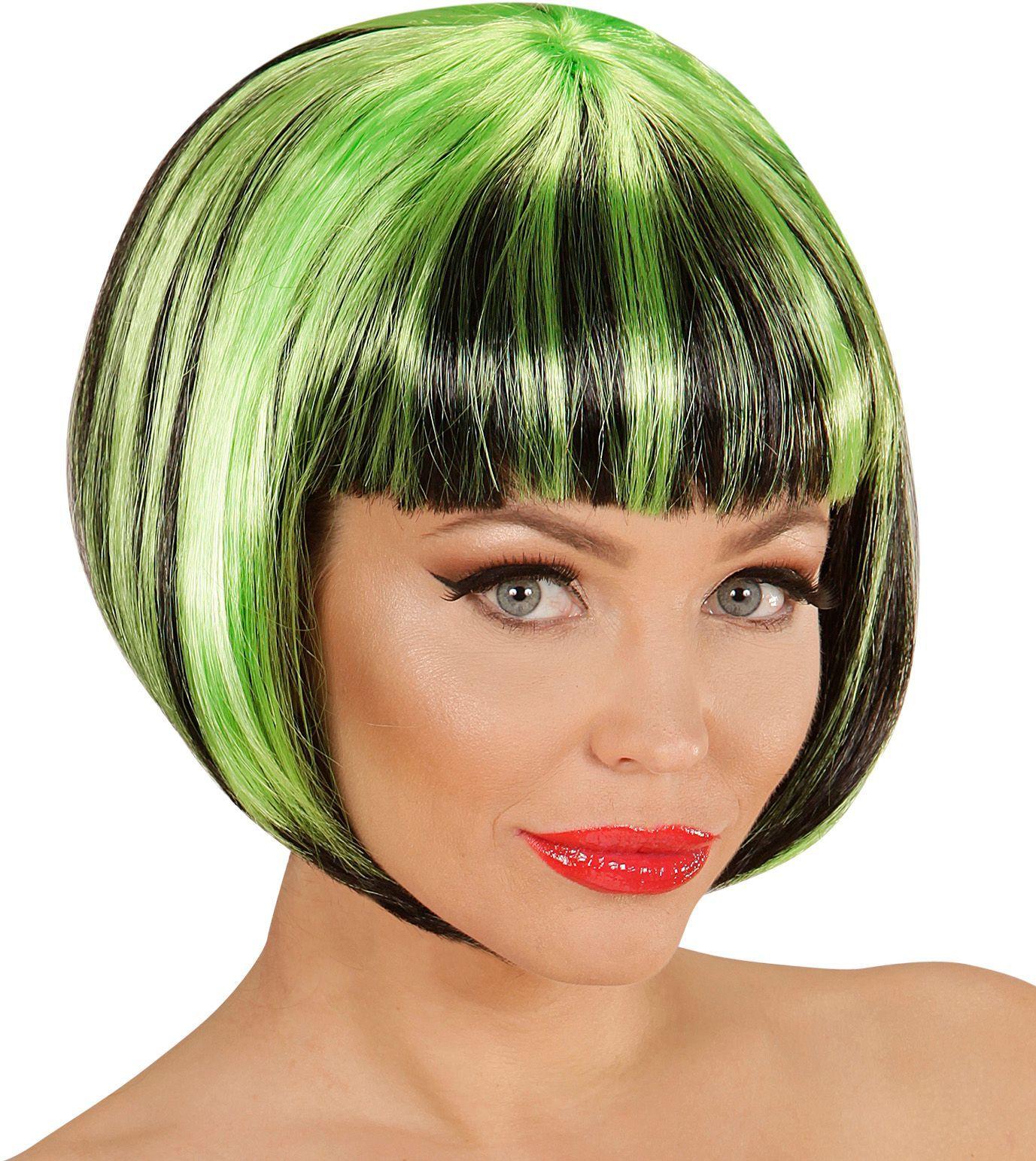 Nette disco pruik zwart-groen