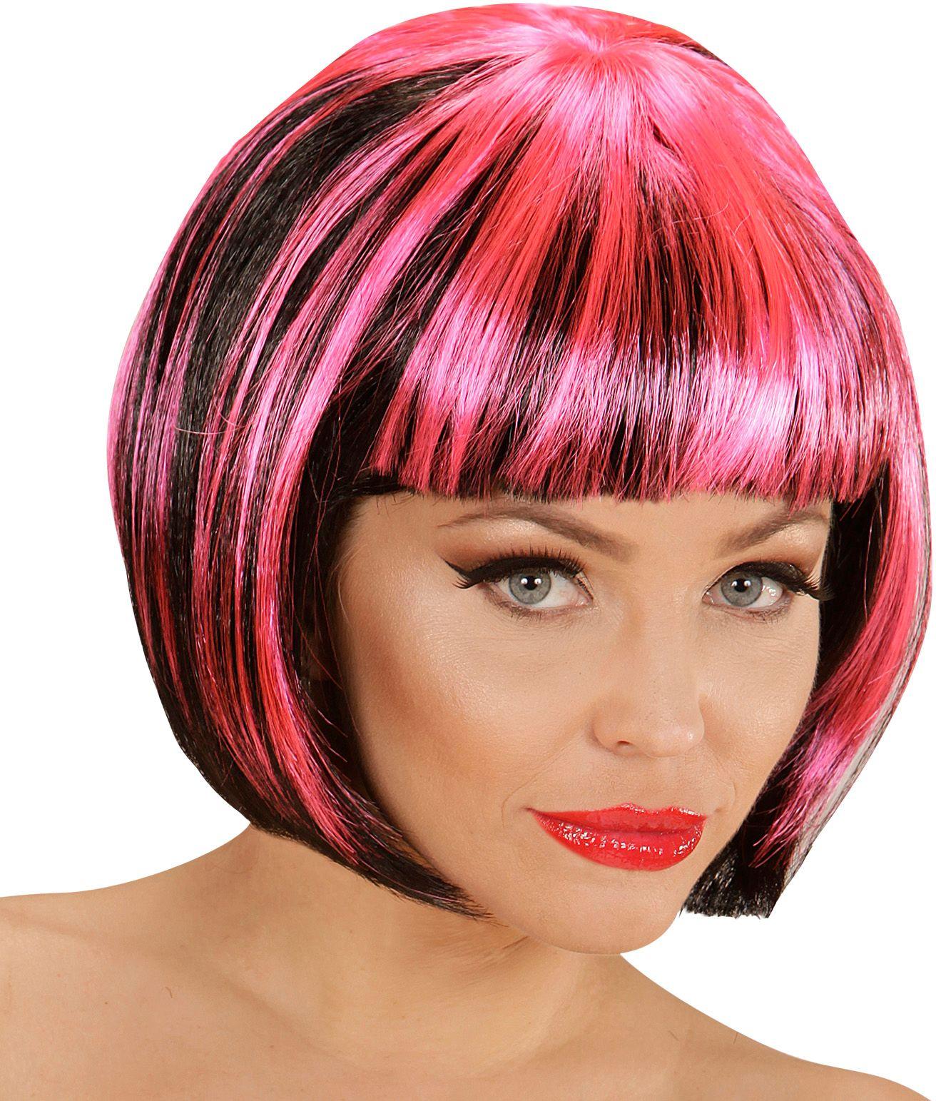 Nette disco pruik zwart-roze