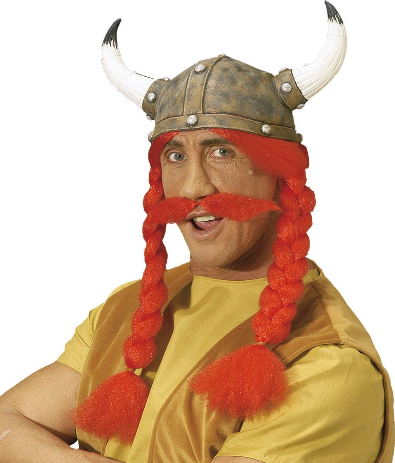 Obelix de Galliër helm met vlechten en snor