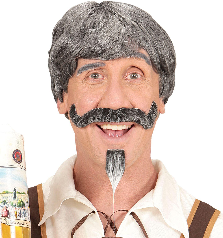Oktoberfest pruik met snor en sik