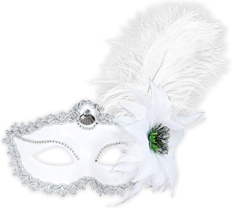 Oogmasker met veer en roos wit