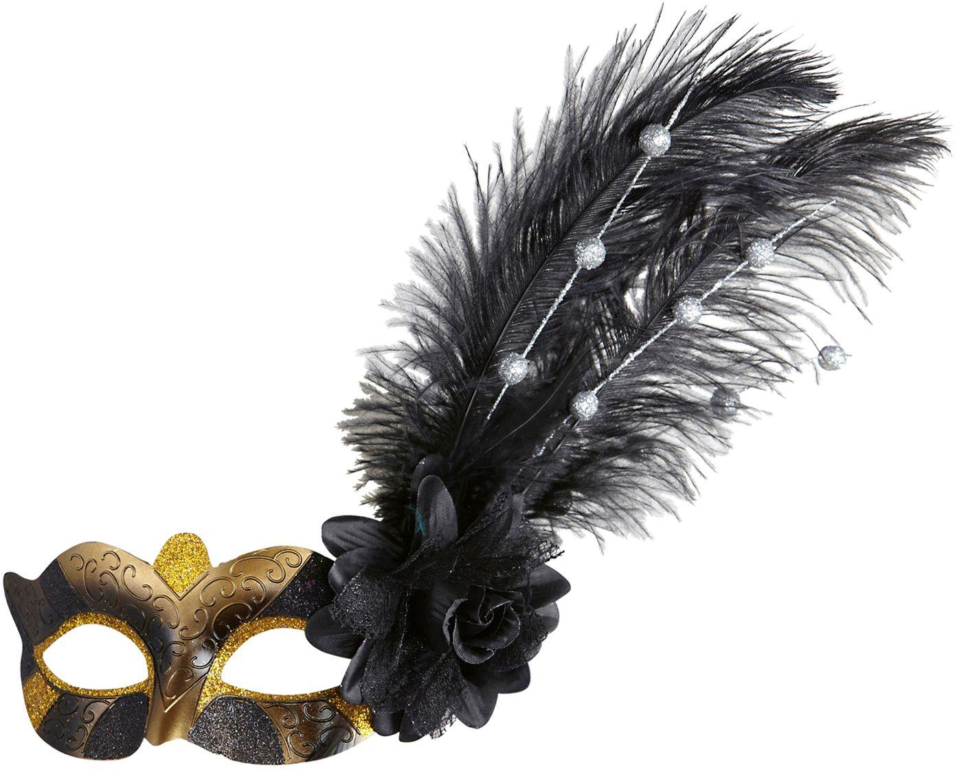 Oogmasker met veer zwart goud