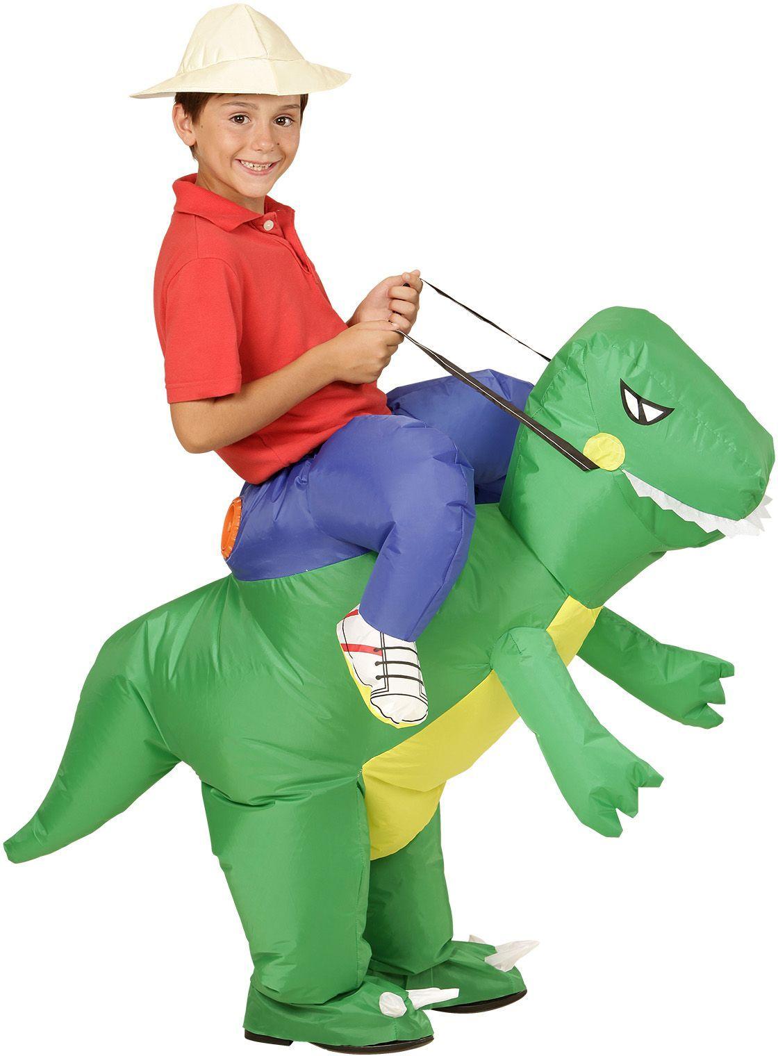 Opblaasbaar dinosaurus pak kind