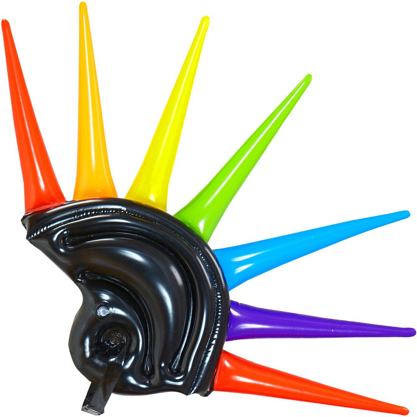 Opblaasbare multikleurige spikes helm