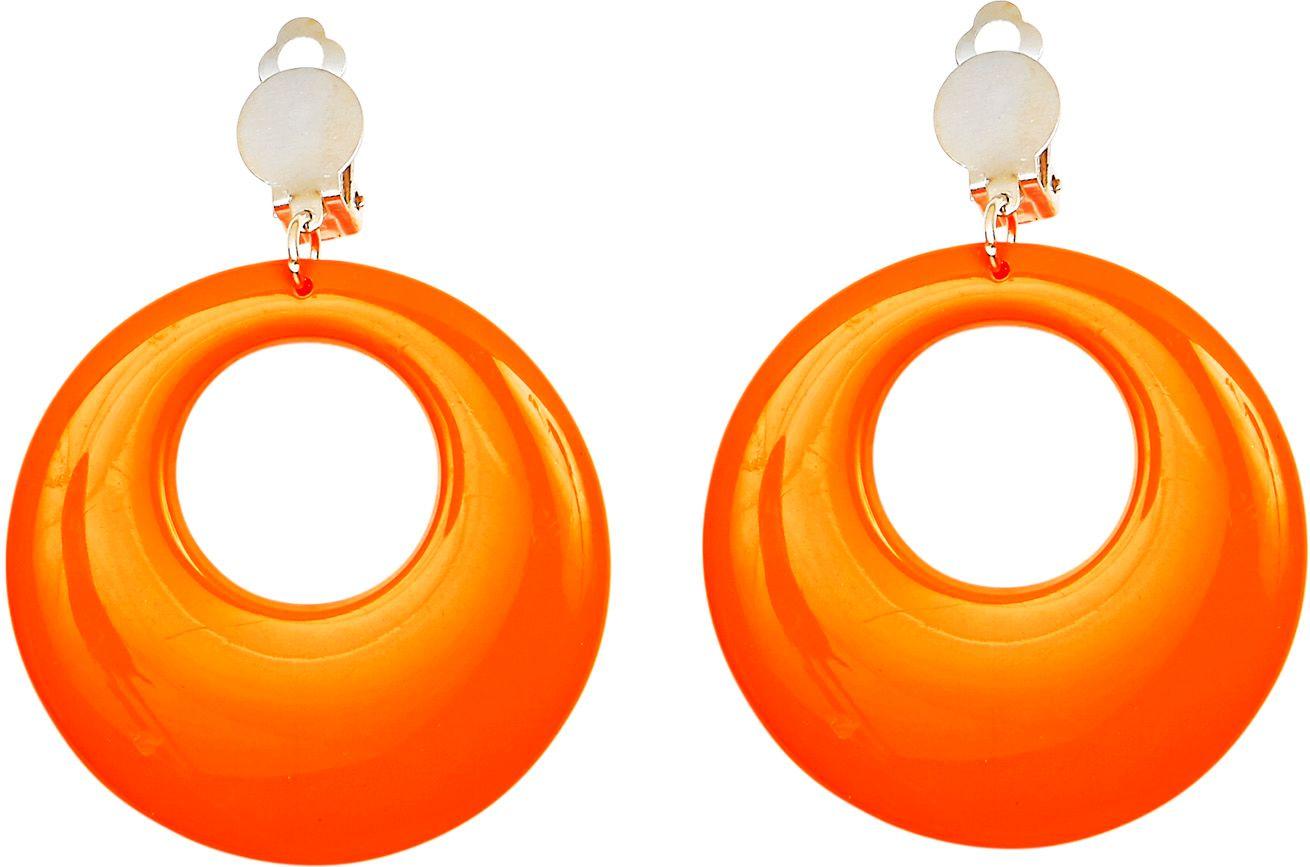 Oranje 80s ring oorbellen
