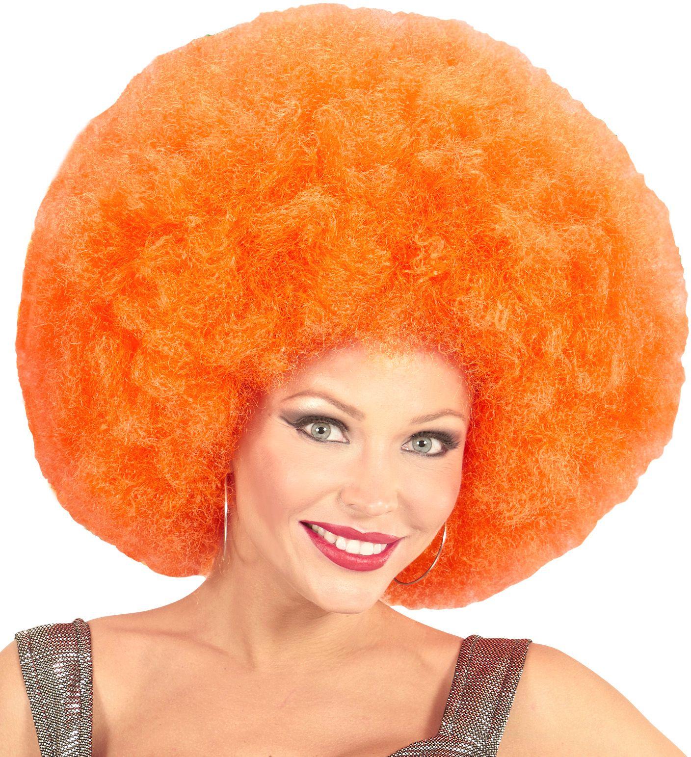 Oranje afro pruik extra groot