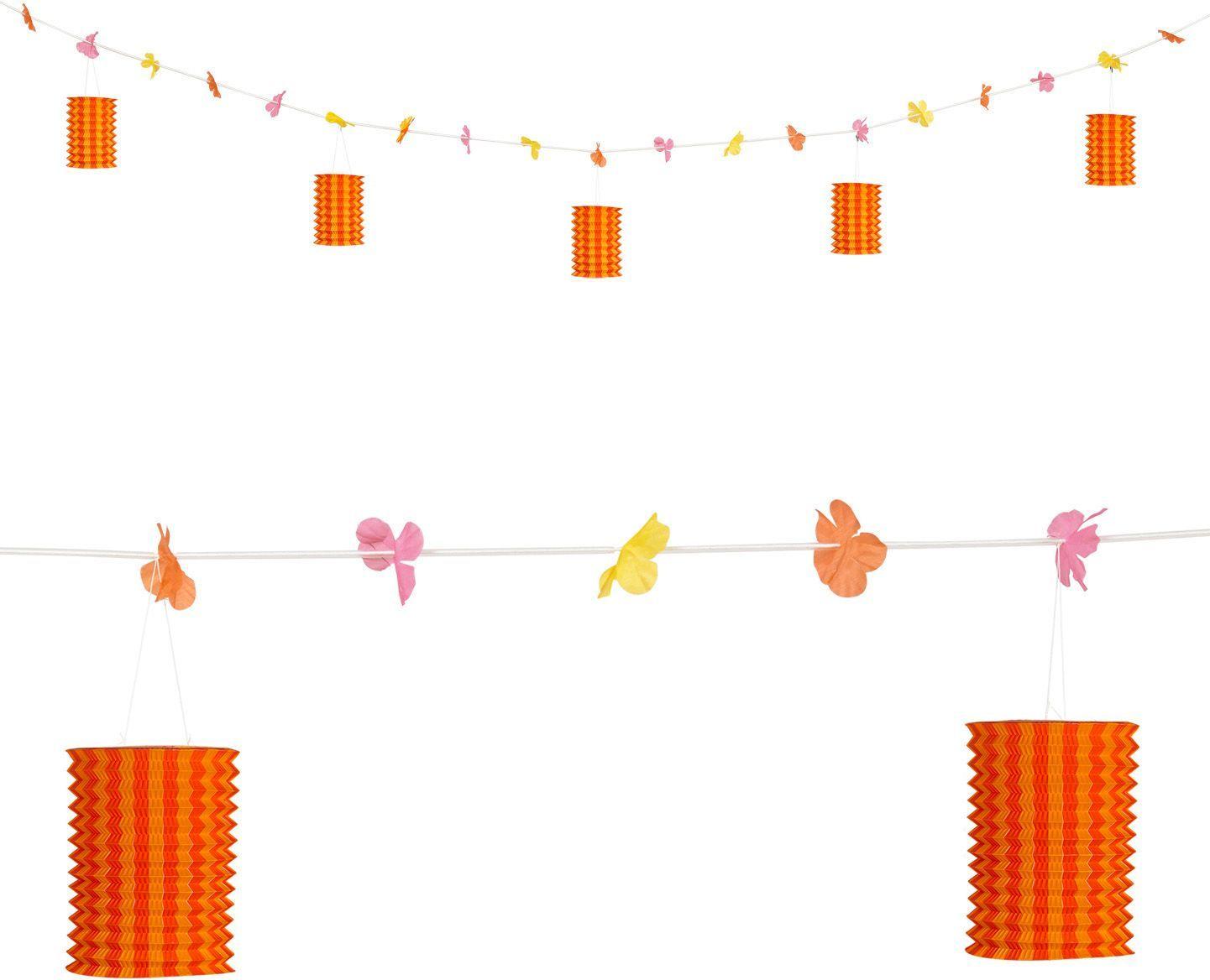 Oranje-gele lantaarn feestslinger